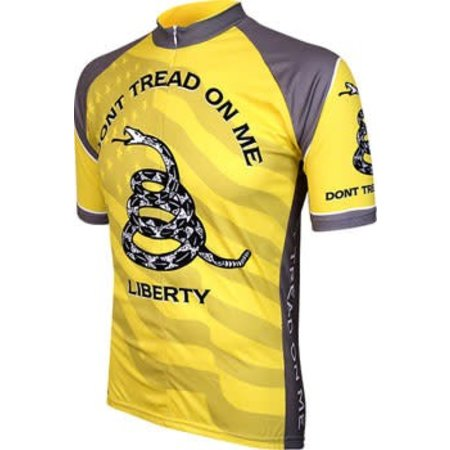 World Jerseys Don't Tread on Me Men's Cycling Jersey: Yellow/Gray, LG