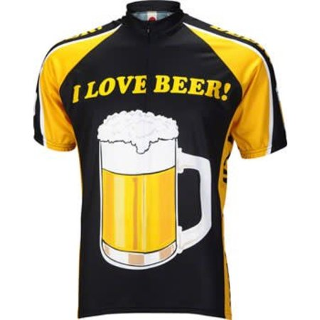 World Jerseys I Love Beer Men's Cycling Jersey: Black/Gold, XL