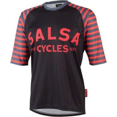 Salsa Devour Men's Short-Sleeve Jersey: Black/Salmon LG