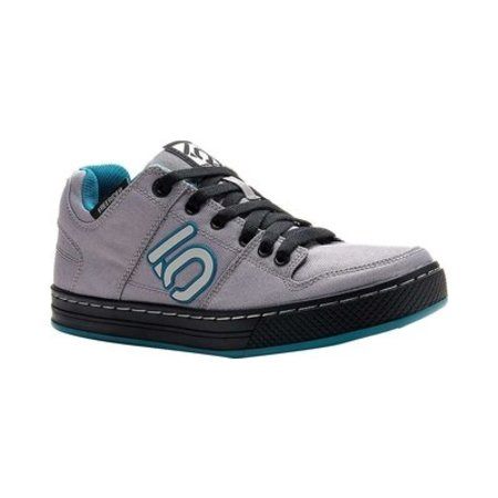 Women's Freerider Canvas Flat Pedal Shoe: Gray/Teal, 7.5