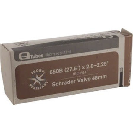 """Q-Tubes Thorn Resistant 27.5 584mm 2.0""""-2.25"""" 52-58mm Long (48mm) Valve Schrader Tube"""