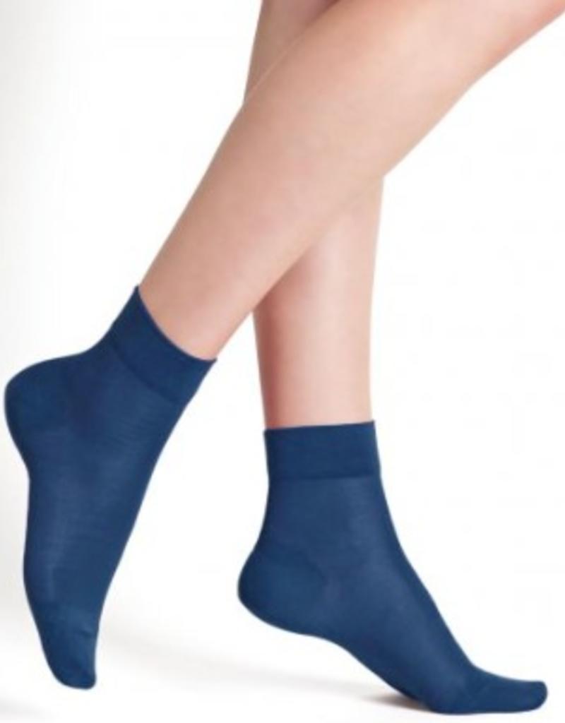 Bleu Forêt Socquettes 100% soie unies