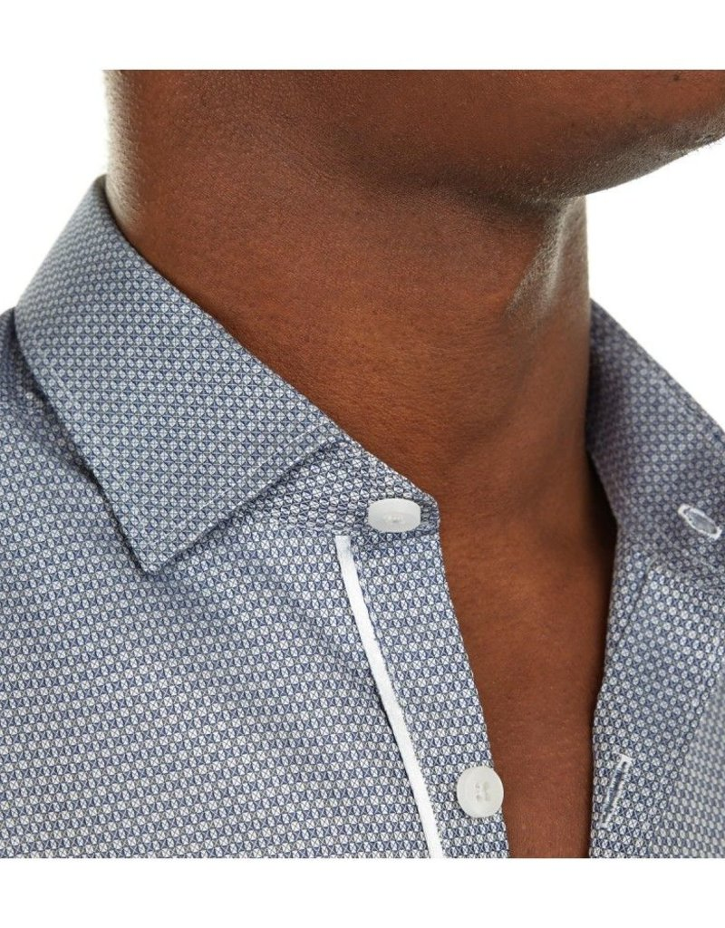 Stone Rose Size XS Geometric dress shirt w/ elegant silver piping trim on front placket