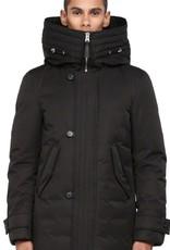 Mackage Lloyd Size 36 Black,zip & button closure w/ leather loop detail peach lux puffy down drawstring hooded jacket w/ flap pkts & removable inner bib