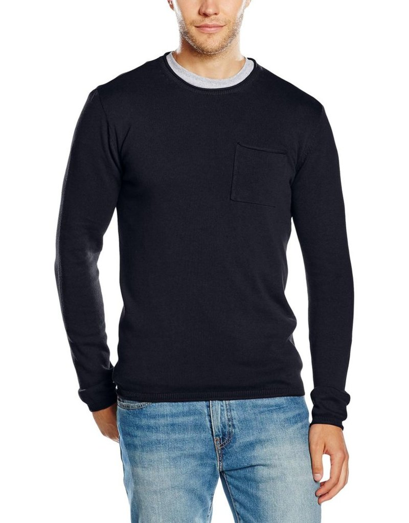 Blend Pullover Crew Neck Pocket Ribbed Trims L/S Knit Sweater