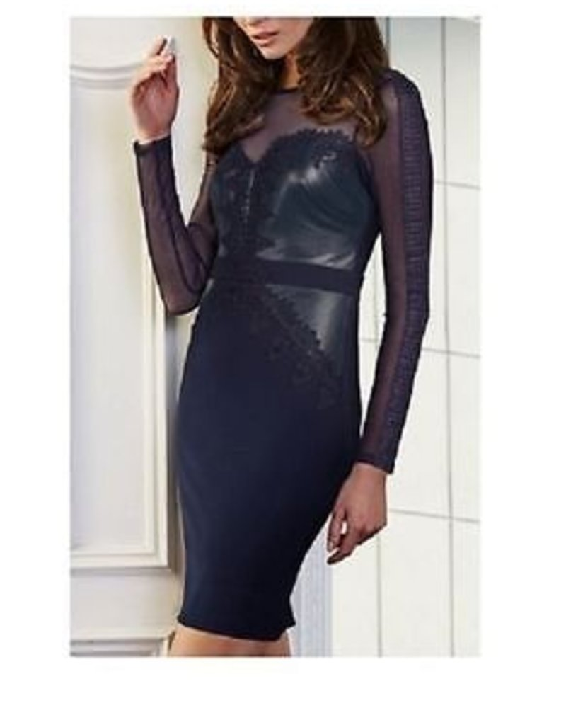 Lipsy Cornelli Lace & Faux Leather Mesh L/S Dress