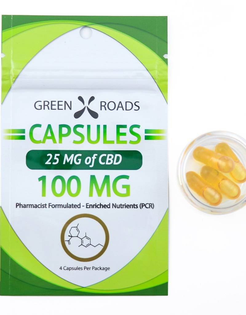 GWR Pharmaceuticals Green Roads CBD Capsules x 4 100mg - 25mg each