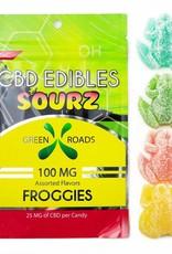 GWR Pharmaceuticals Green Roads 100mg CBD (25mg Each) 4 Per Pack Sour Froggies