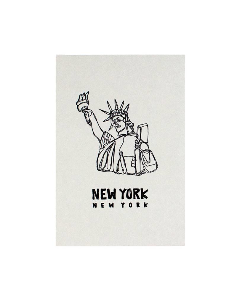 HWG hat+wig+glove - statue of  liberty postcard