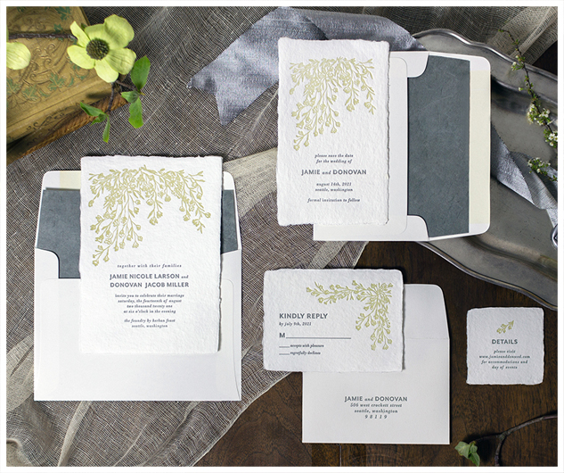 Finest custom wedding invitations - Oblation Papers and Press TJ96