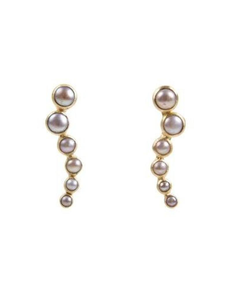 FAIRLEY PEARL EAR CLIMBERS GOLD