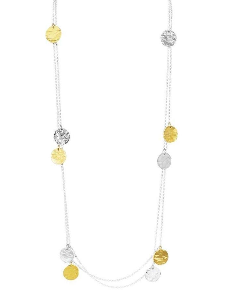 COCO ROUND HAMMERED DISC NECKLACE - LONG / GOLD DETAIL