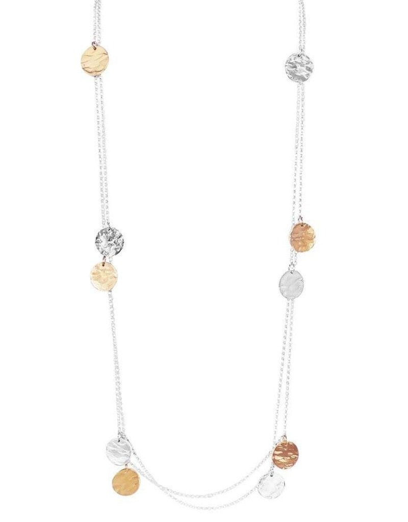 COCO ROUND HAMMERED DISC NECKLACE - LONG / ROSE DETAIL