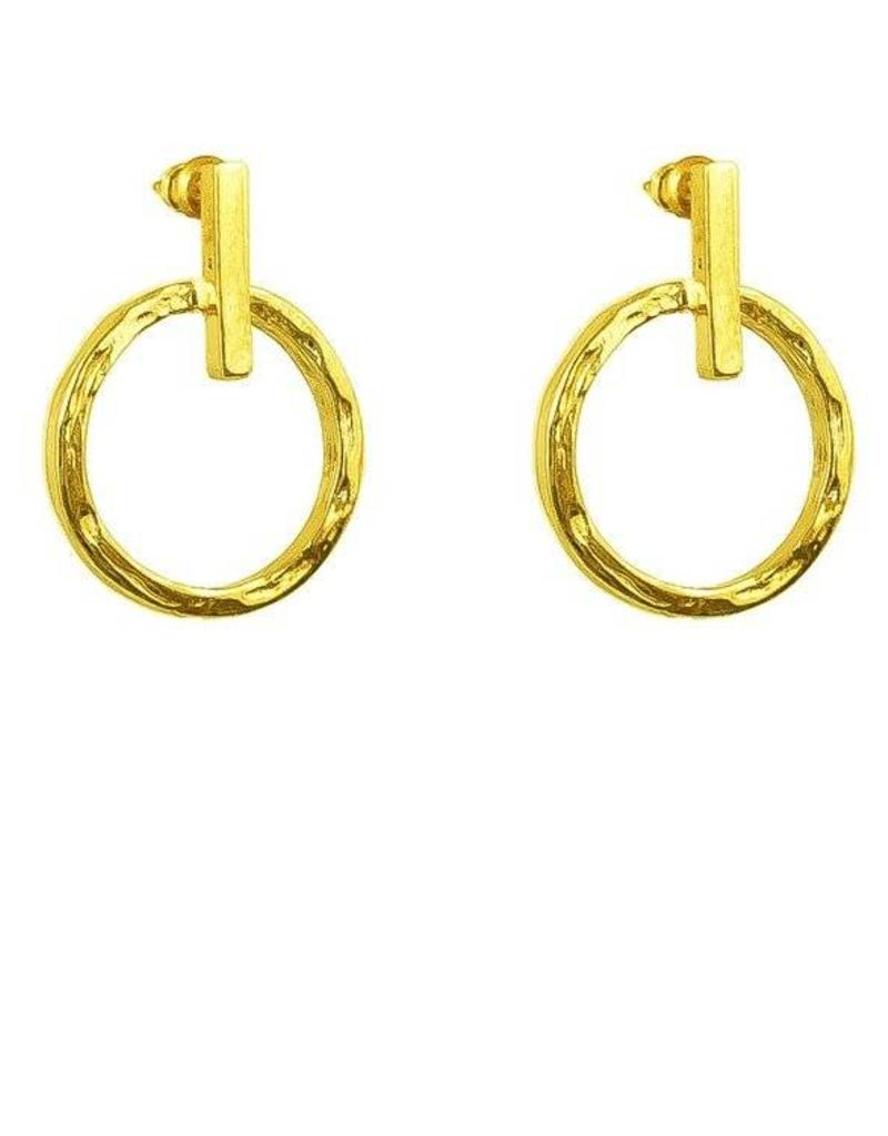 ZOE SMALL HAMMERED RING & POLISHED BAR EARRINGS / GOLD