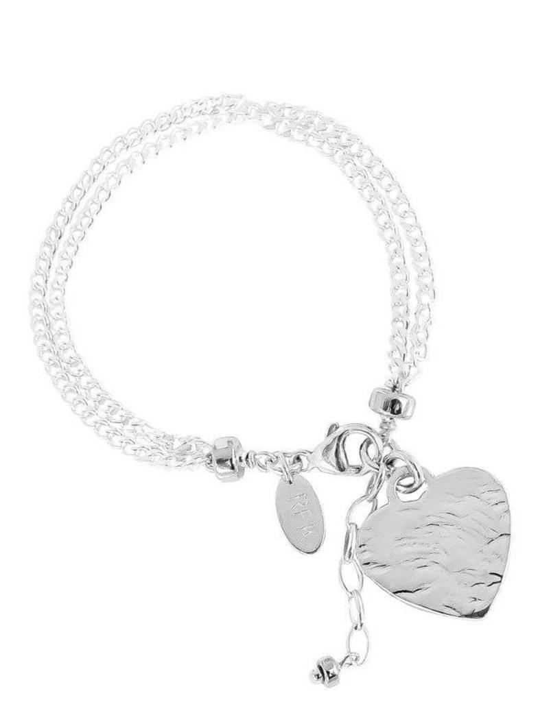 EMILIE DOUBLE CHAIN BRACELET W/HAMMERED HEART/SILVER HEART & DETAIL