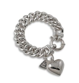 MEDIUM MAMA BRACELET W/SILVER PUFFY HEART