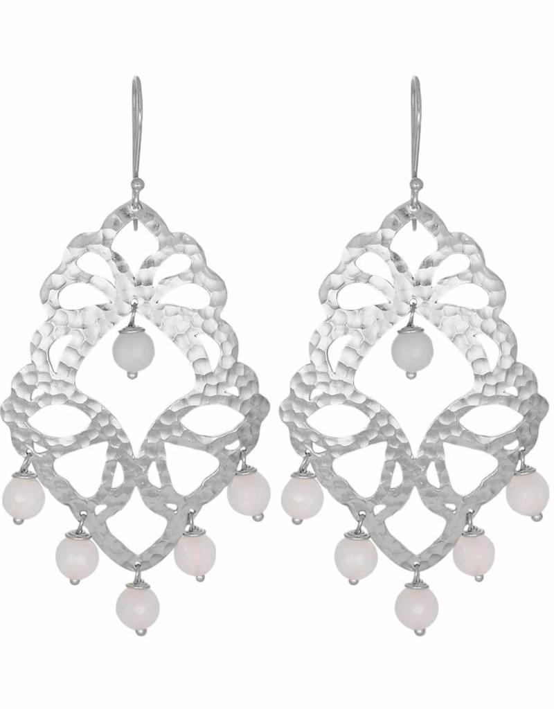ELEKTRA STATEMENT BEADED EARRINGS  SILVER/ROSE QUARTZ