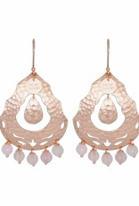 ARABELLA STATEMENT BEADED EARRINGS ROSE GOLD QUARTZ