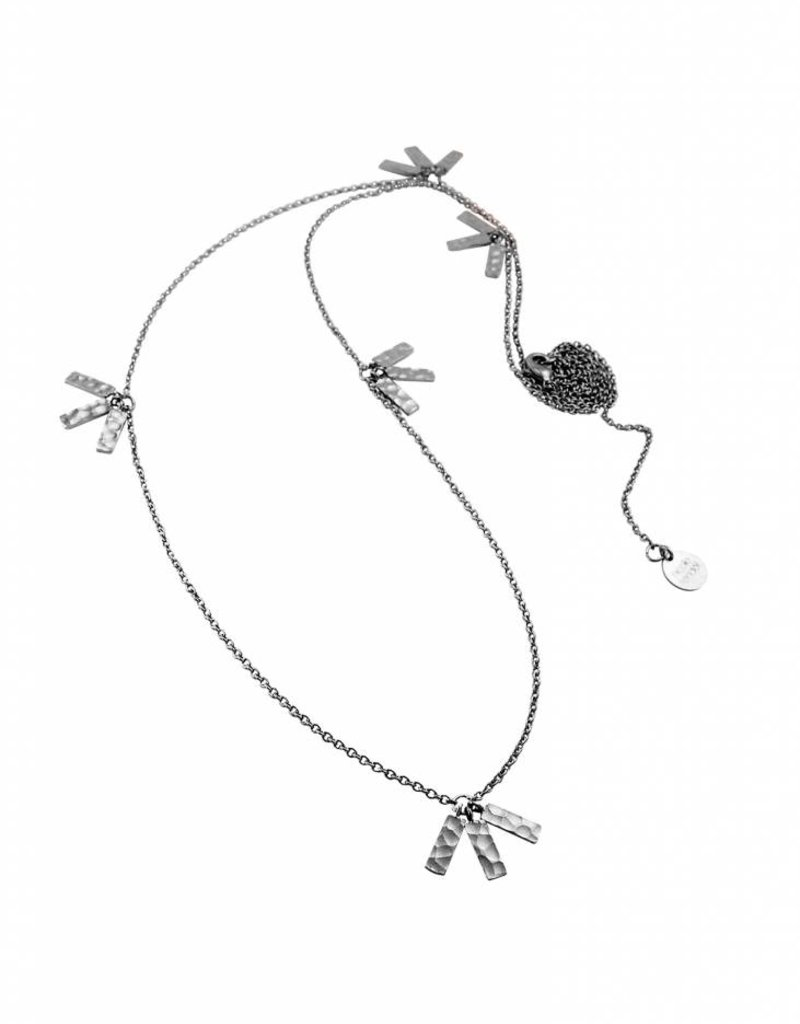 KIARA STATEMENT LONG TASSELL NECKLACE  SILVER