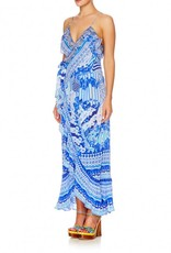 THROWING SHADE LONG WRAP DRESS W/FRILL