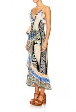 SALVADOR SECRETS LONG WRAP DRESS W/FRILL