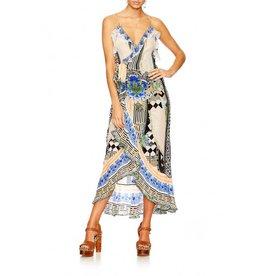 SALVADOR SECRETS LONG WRAP DRESS W/FRILL