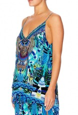 CAMILLA AMAZON AZURE MULTI LAYER V NECK TOP