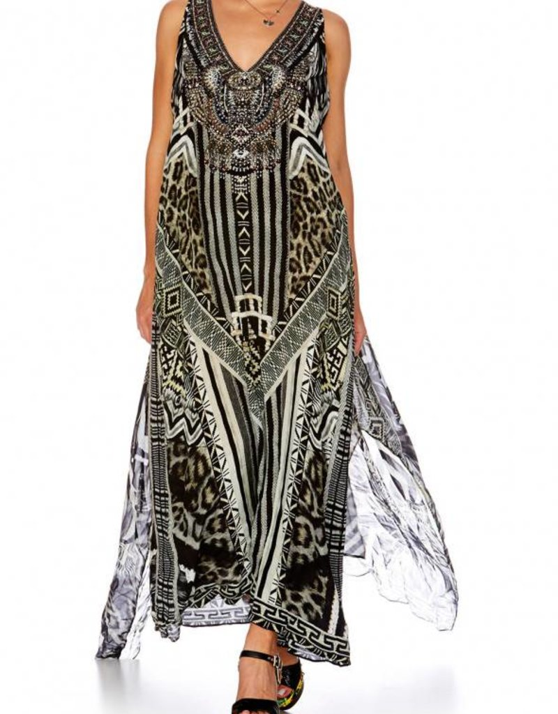 CAMILLA TRIBAL THEORY TIE FRONT MULTIWEAR DRESS