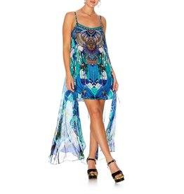 AMAZON AZURE MINI DRESS W/LONG OVERLAY
