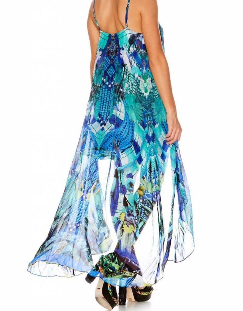 CAMILLA AMAZON AZURE MINI DRESS W/ LONG OVERLAY