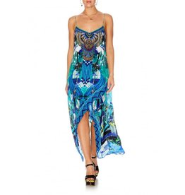 AMAZON AZURE SHOESTRING DOUBLE LAYER DRESS
