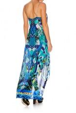 CAMILLA AMAZON AZURE SHOESTRING DOUBLE LAYER DRESS