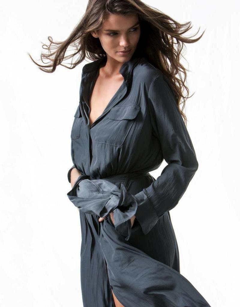 STAND COLLAR DRESS ZINC