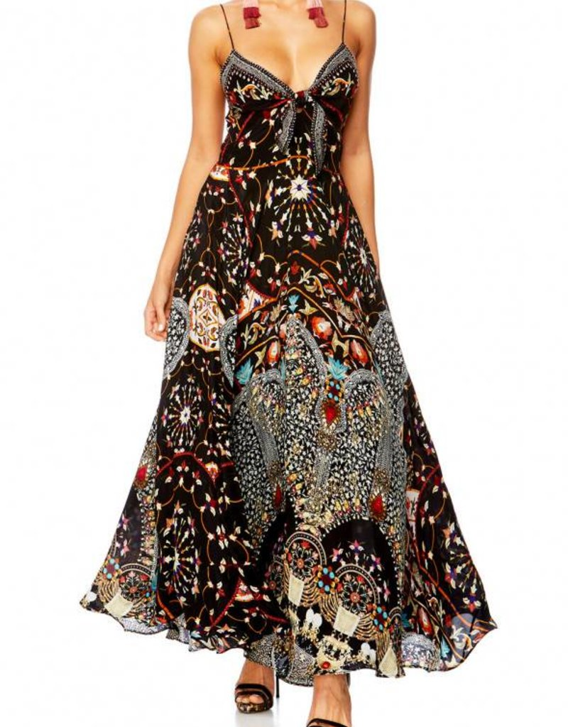CHAMBER OF REFLECTIONS LONG DRESS W/ TIE FRONT