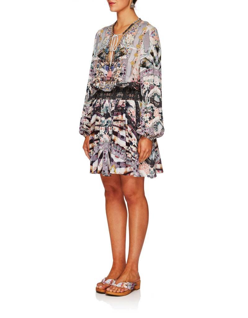 CAMILLA IN HER SHOES SHIRRED RELAXED SHORT DRESS