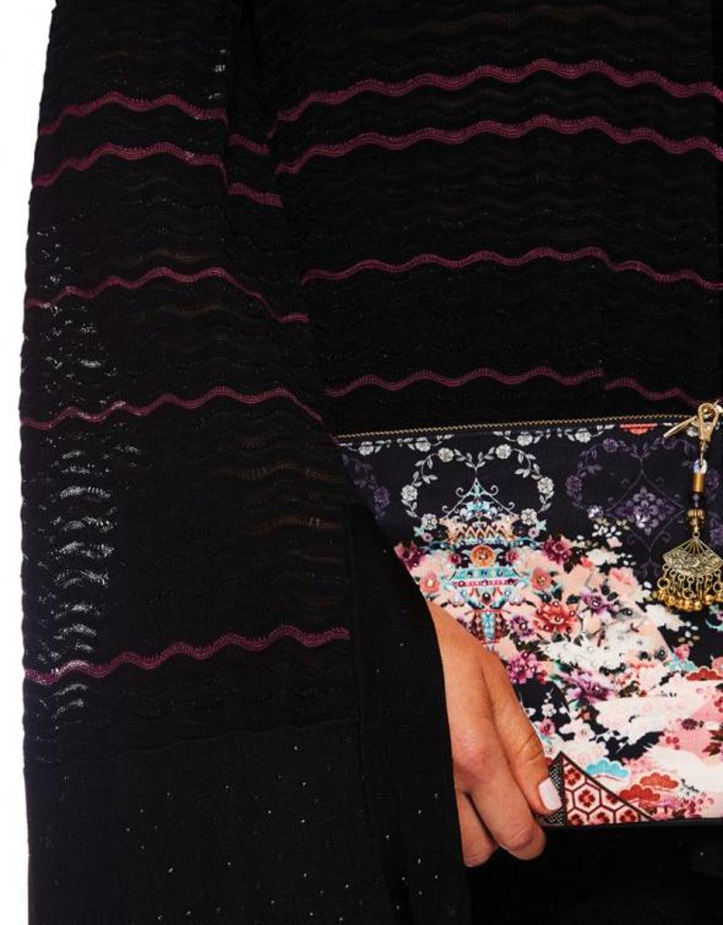 CAMILLA NIGHTS WITH HER SMALL CANVAS CLUTCH