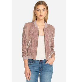 JOHNNY WAS KAMALA VELVET BOMBER ANTIQUE ROSE