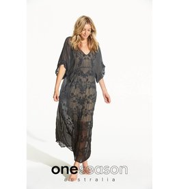 ONESEASON FLOATY DRESS  VISCOSE GEORGETTE BLACK