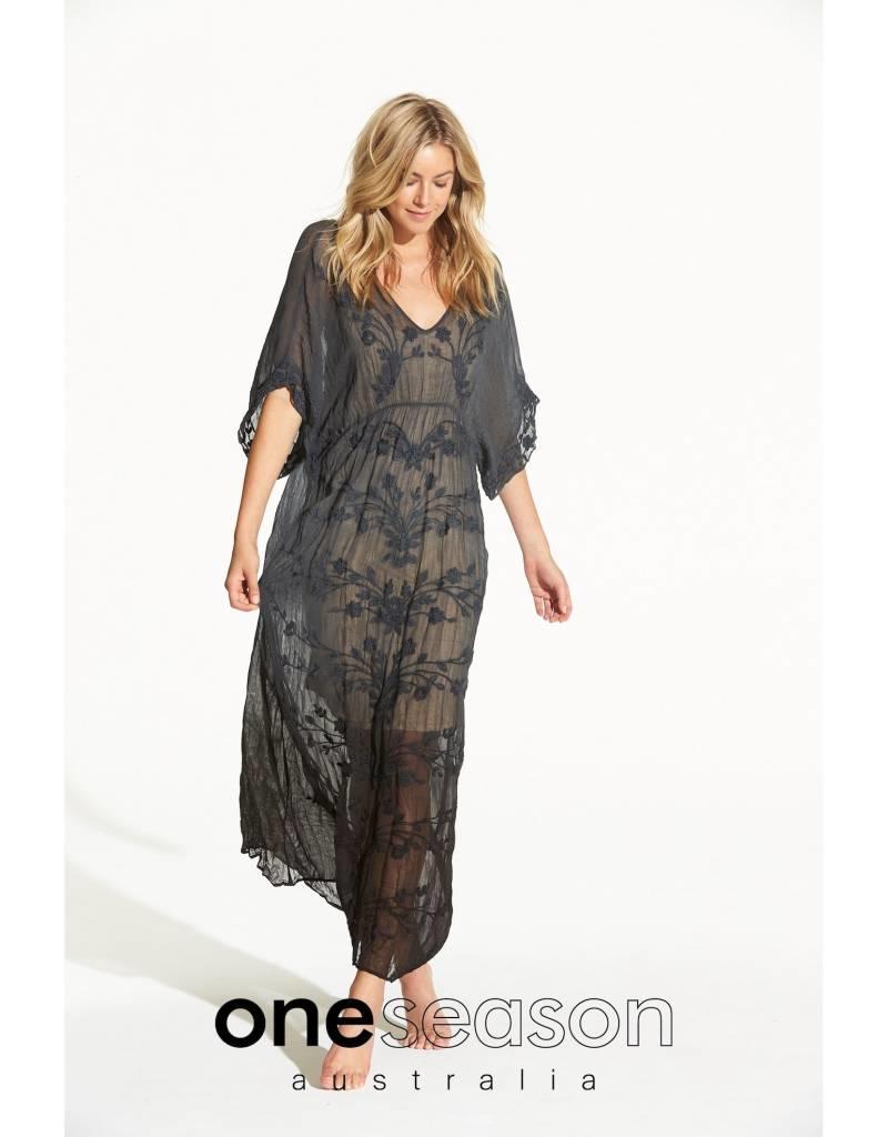 ONE SEASON FLOATY DRESS  VISCOSE GEORGETTE BLACK