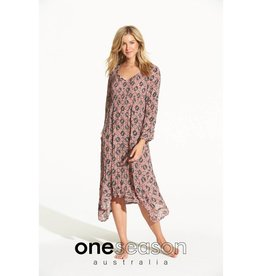 ONESEASON MARILYN DRESS LISBON FLAMINGO VISCOSE