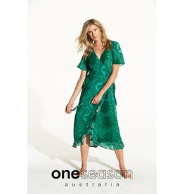 ONESEASON PIPER FRILL WRAP DRESS CORSICA EMERALD