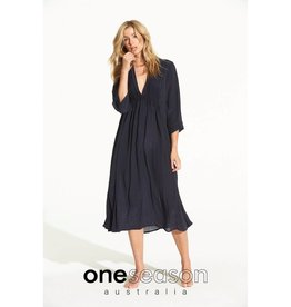 ONE SEASON MIA DRESS PLAIN VISCOSE INK