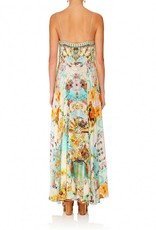 CAMILLA RETROS RAINBOW LONG DRESS W/ TIE FRONT