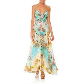 CAMILLA RETROS RAINBOW LONG DRESS W/ TIE FRONT