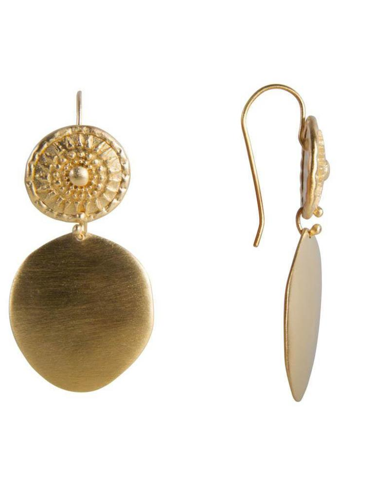 FAIRLEY ALEXA TRIBAL SHIELD EARRINGS GOLD