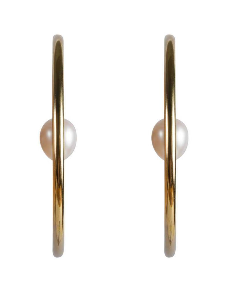 FAIRLEY PEARL ORBIT HOOPS GOLD