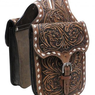 SHILOH STABLES AND TACK SHOWMAN FLORAL TOOLED LEATHER HORNBAG W/BUCK STITCH HB-06