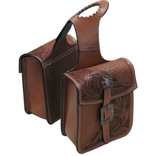 SHILOH STABLES AND TACK SHOWMAN LEATHER HORN BAG W/FLORAL 176333