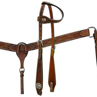 SHILOH STABLES AND TACK SHOWMAN FLORAL TOOLED LEATHER ONE EAR HS/BC SET 7148