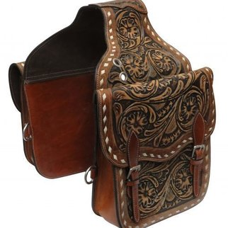 SHILOH STABLES AND TACK SHOWMAN TOOLED LEATHER SADDLE BAG SB-58